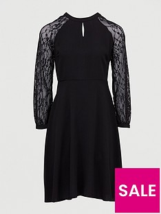 dorothy-perkins-lace-midi-dress-black