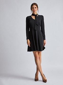 dorothy-perkins-pussybow-midi-dress-black