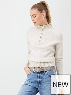 river-island-river-island-sequin-detail-zip-through-jumper-beige