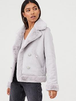 river-island-river-island-faux-suede-shearling-fallaway-jacket--grey