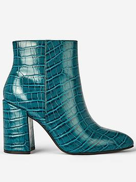 dorothy-perkins-dorothy-perkins-wide-fit-croc-pointed-block-heel-ankle-boots-teal
