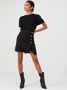 river-island-river-island-embellished-button-tux-wrap-mini-skirt--black