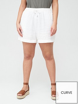 v-by-very-curve-linen-blend-short-white