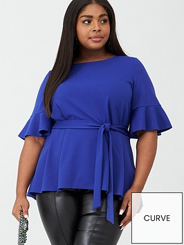 v-by-very-curve-jersey-crepe-belted-top-bright-blue
