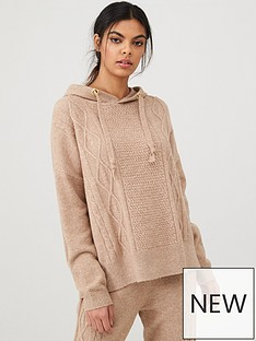 river-island-cable-knitted-hoodie--beige