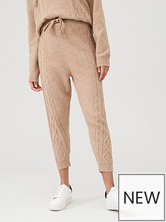 river-island-river-island-cable-knitted-joggers--beige