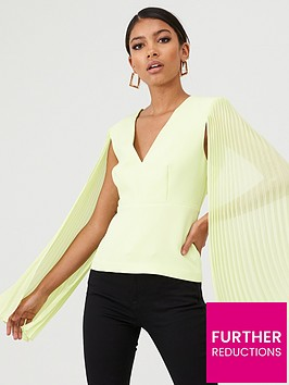 river-island-river-island-long-sheer-pleated-sleeve-v-neck-top--lime