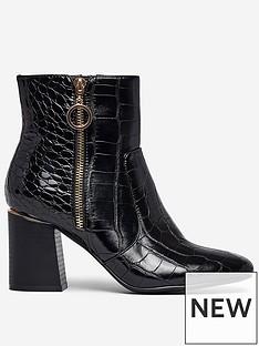 dorothy-perkins-dorothy-perkins-wide-fit-gold-trim-block-heel-croc-boots--black
