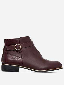 dorothy-perkins-dorothy-perkins-wide-fit-flat-buckle-ankle-boots-oxblood