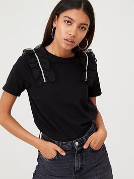 river-island-river-island-mesh-ruffle-shoulder-t-shirt-black