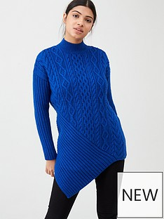river-island-river-island-cable-knit-asymetric-hem-jumper--blue