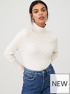 river-island-river-island-pearl-roll-neck-knitted-jumper--cream