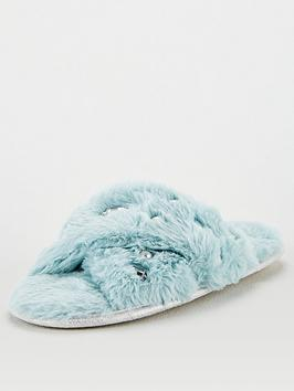 v-by-very-briana-cross-strap-embellished-slider-slipper-mint