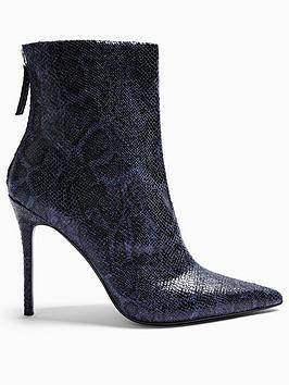 topshop-eda-snake-print-point-boots-navy