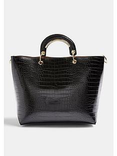 topshop-tao-croc-metal-handle-tote-bag-black