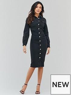 michelle-keegan-fitted-waist-denim-midi-dress-washed-black