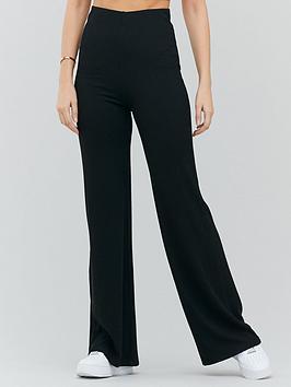 michelle-keegan-ribbed-jersey-trouser-black