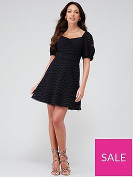 michelle-keegan-broiderie-lace-skater-dress-black
