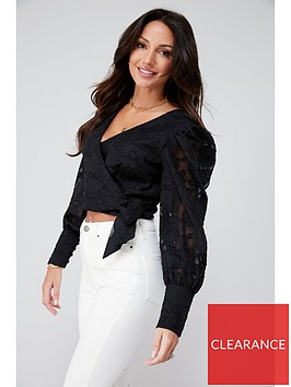 michelle-keegan-burnout-ruched-blouse-black