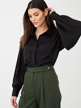 v-by-very-formal-sleeve-detail-button-through-shirt-black