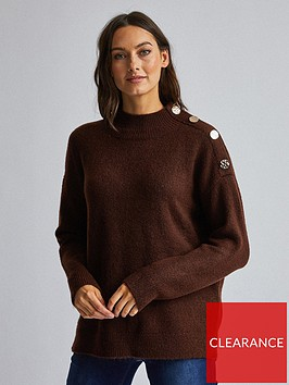 dorothy-perkins-dorothy-perkins-knitted-button-shoulder-jumper-brown