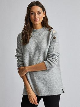 dorothy-perkins-dorothy-perkins-knitted-button-shoulder-jumper-grey