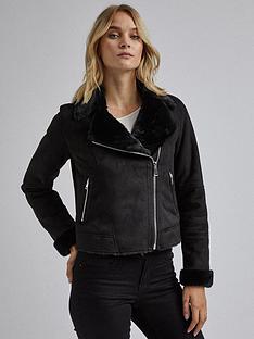 dorothy-perkins-dorothy-perkins-fauxnbspshearling-biker-jacket-black