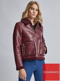 dorothy-perkins-dorothy-perkins-faux-shearling-jacket-burgundy
