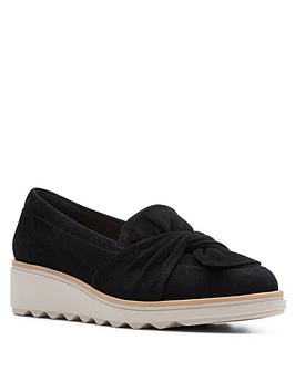 clarks-sharon-dasher-leather-wedge-loafer-black