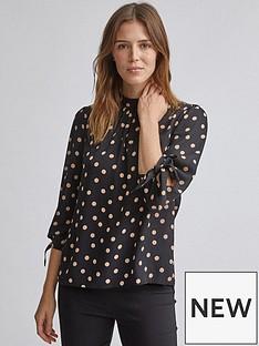 dorothy-perkins-dorothy-perkins-spot-34-sleeve-top-black