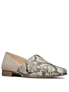 clarks-pure-tone-leather-flat-shoe-grey-snake
