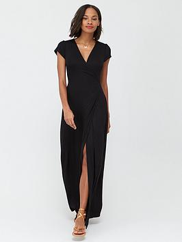 v-by-very-jersey-short-sleeve-wrap-maxi-dress-black