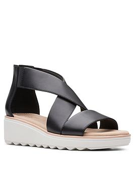 clarks-jillian-rise-low-leather-wedge-sandal-black
