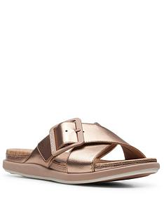 clarks-step-june-shell-flat-sandal-rose-gold