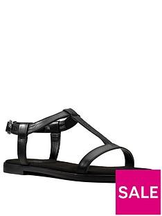 clarks-bay-rosa-leather-flat-t-bar-sandal-black