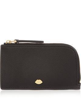 lulu-guinness-leah-lip-pin-top-zip-purse-black