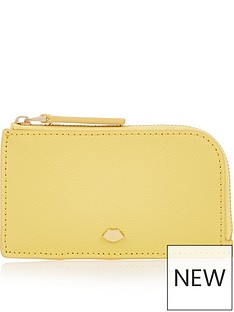 lulu-guinness-leah-lip-pin-top-zip-purse-yellow