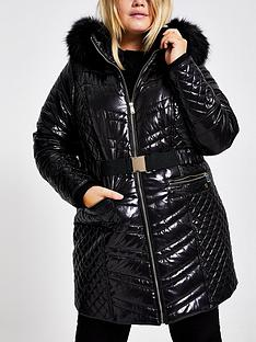 ri-plus-faux-fur-hood-high-shine-padded-coat-black