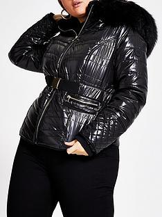 ri-plus-ri-plus-faux-fur-high-shine-padded-coat-black