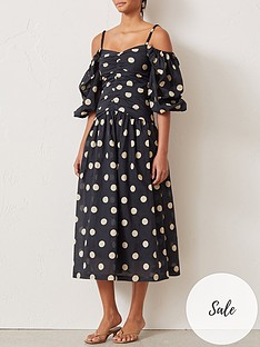 bec-bridge-josephine-polka-dot-cold-shoulder-puff-sleeve-midi-dress-black