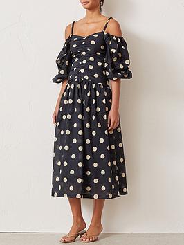 bec-bridge-josephine-polka-dot-cold-shoulder-puff-sleeve-midi-dress-black