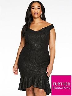 quiz-curve-glitter-bardot-midi-dress-black