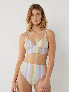 warehouse-broken-stripe-banded-bikini-top-multi