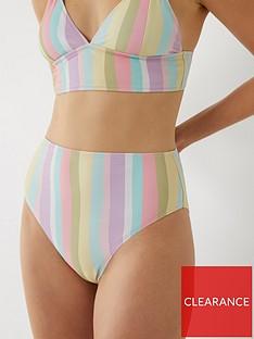 warehouse-broken-stripe-bikini-bottom-multi
