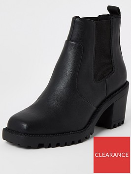river-island-river-island-square-toe-chunky-sole-ankle-boot-black