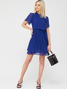 oasis-plain-pleated-skater-dress-mid-blue