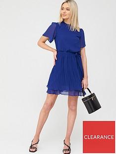 oasis-plain-pleated-skater-dress-mid-blue