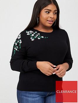 oasis-curve-edie-embroidered-jumper-black