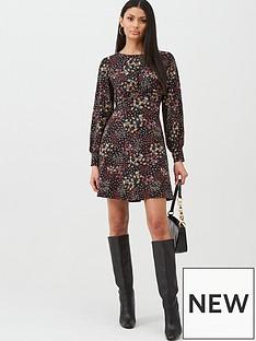 oasis-mixed-ditsy-floral-long-sleeve-tea-dress-blacknbsp
