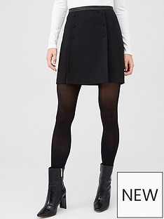 oasis-button-detail-mini-skirt-black
